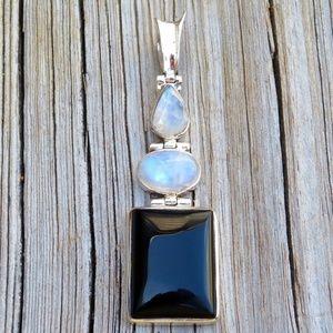 Vintage 925 Rainbow Moonstone & Onyx Pendant
